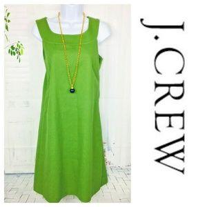 J. CREW Green Sheath Midi Woven Dress Sleeveless 6